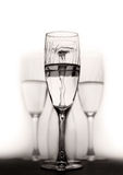 Champagne glass. In black and white Royalty Free Stock Photo