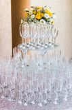 Champagne glass arrangement for dinner party Royalty Free Stock Photos