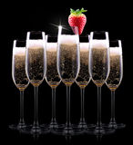 Champagne glass on black background Stock Image