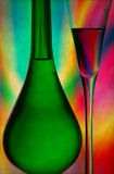 Champagne glass and bottle Stock Image