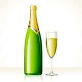 Champagne Glass and Bottle Stock Photography