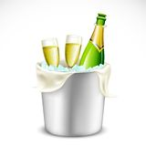 Champagne Glass and Bottle in Bucket Stock Photography