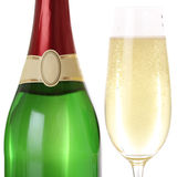 Champagne in glass and bottle isolated Stock Image