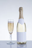 Champagne glass and a bottle Royalty Free Stock Photography