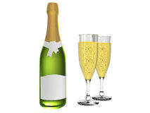 Champagne and glass with champagne Stock Images