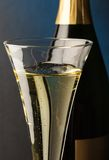 Champagne glass with champagne bottle Royalty Free Stock Photos