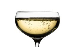 Champagne glass with champagne. Champagne with champagne glass. symbolic photo for celebrations and new year Royalty Free Stock Images