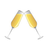 Champagne  glass and  champagne, Vector Stock Photography