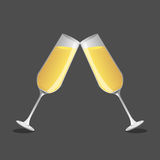 Champagne  glass and  champagne, Vector Royalty Free Stock Photo