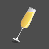 Champagne  glass and  champagne, Vector Stock Image