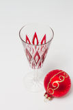 Champagne glass with Christmas bauble Stock Photography