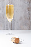 Champagne glass and cork Stock Photography