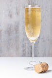 Champagne glass and cork Royalty Free Stock Photo