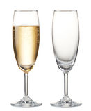 Champagne. Glass of champagne and empty champagne flute stock images