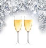 Champagne Glass, fondo de la Navidad con las ramitas de plata Imagen de archivo libre de regalías