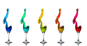 Champagne Glass Green Cyan Liquid Splashes Stock Images
