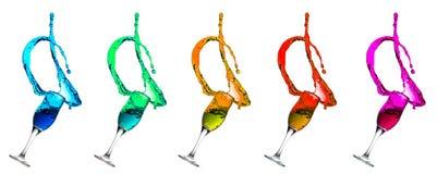 Champagne Glass Green Cyan Liquid Splashes Stock Image