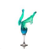 Champagne Glass Green Cyan Liquid spritzt Lizenzfreies Stockbild