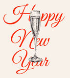 Champagne Glass Hand Drawing Vector Illustration Bubbles. Alcoholic Drink. Happy New Year Royalty Free Stock Image