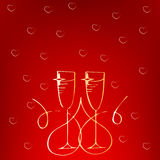 Champagne glass with heart isolated on white background. Wedding, anniversary, birthday, Valentine`s day, party invitations. Desig Royalty Free Stock Photo