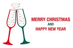 Champagne glass. Merry Christmas And Happy New Year. Eps 10 Stock Illustration