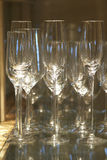 Champagne glass. On mirror in restuarant Royalty Free Stock Photos