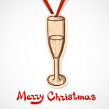Champagne glass. Paper label on ribbon. Stock Photo
