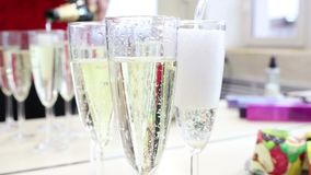 Champagne by the glass. Pours girl stock video footage