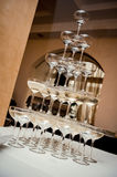 Champagne glass pyramid Stock Photo