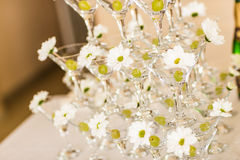 Champagne glass pyramid Royalty Free Stock Photography