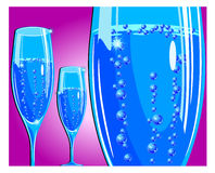 Champagne glass on red Royalty Free Stock Photos