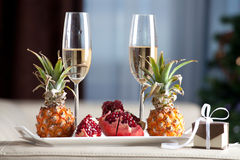 Champagne glass romantic dinner Royalty Free Stock Photos