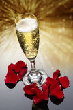 Champagne Glass and Rose Petals. Champagne glass with red rose petals against a glitter background Stock Photo