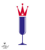 Champagne glass with royal crown, decorative goblet Royalty Free Stock Image