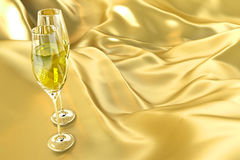Champagne Glass on Satin Stock Photo