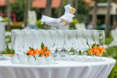 Champagne glass setting Royalty Free Stock Photo