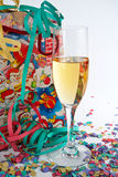 Champagne glass with shopping bag Stock Image
