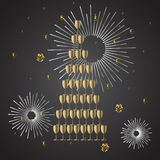 Champagne glass stack festive vector background. Gold wine stack with firework and confetti Stock Photos