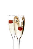 Champagne glass with strawberry Stock Photos