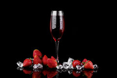 Champagne glass with strawberry Stock Photography