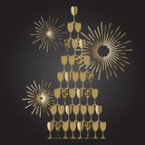 Champagne glass tower festive vector background. Gold wine stack with firework. Celebration concept Royalty Free Stock Images