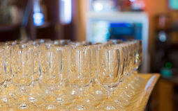 Champagne glass on tray. Champagne glasses on tray prepared for wedding party. Tray waits on counter bar stock photo