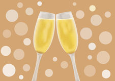 Champagne in a glass. Two glasses of champagne, cheers Stock Photos