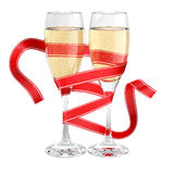Champagne glass wrapped ribbon. Isolated Stock Photography