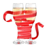 Champagne glass wrapped ribbon stock photo