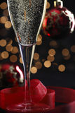 Champagne in glasse. On xmas table Stock Photos