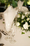 Champagne Glasses. Table setting with champagne glasses stock photo
