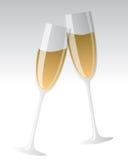 Champagne glasses. Full champagne glasses over white Royalty Free Stock Images