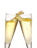 Champagne glasses. Two champagne glasses isolated on white with splashes Stock Photo