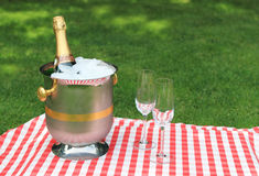 Champagne and glasses Royalty Free Stock Photos